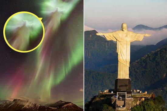 冰岛罕见极光 壮观绚丽酷似耶稣像