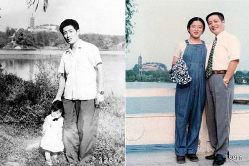 父女35年每年在老地方合影:每年和父母照一张全家福吧