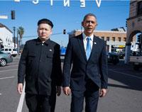 当奥巴马和金正恩在一起愉快的的玩耍是什么情景
