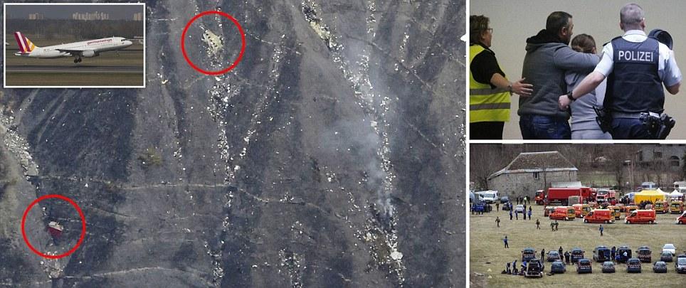 """搜寻飞机找到""""德国之翼""""航班4U 9525散落在阿尔卑斯山腰遗骸 飞行员没有发出求救信号 飞机八分钟下降9700米"""