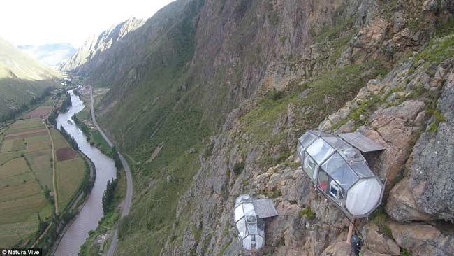 世界上最刺激的酒店 悬挂在秘鲁121米高山谷悬崖