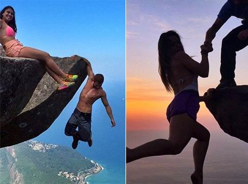"""情侣850米高悬崖拍照 单手悬挂高喊""""爱的宣言"""""""