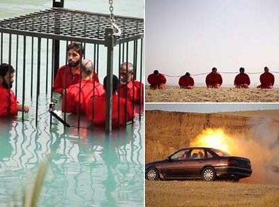 """囚笼淹死、火箭弹处决、炸药""""项链"""":ISIS虐杀囚犯新视频曝光"""