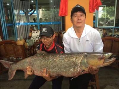 父子合力拉锯3小时钓起98.4斤重鳡鱼