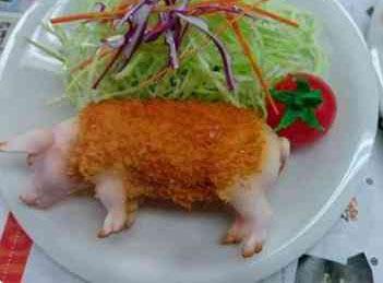 """日本现""""真猪料理"""" 制作太过逼真食客难接受"""