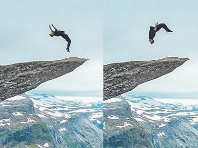 英国小伙700米悬崖无保护措施表演惊魂空翻