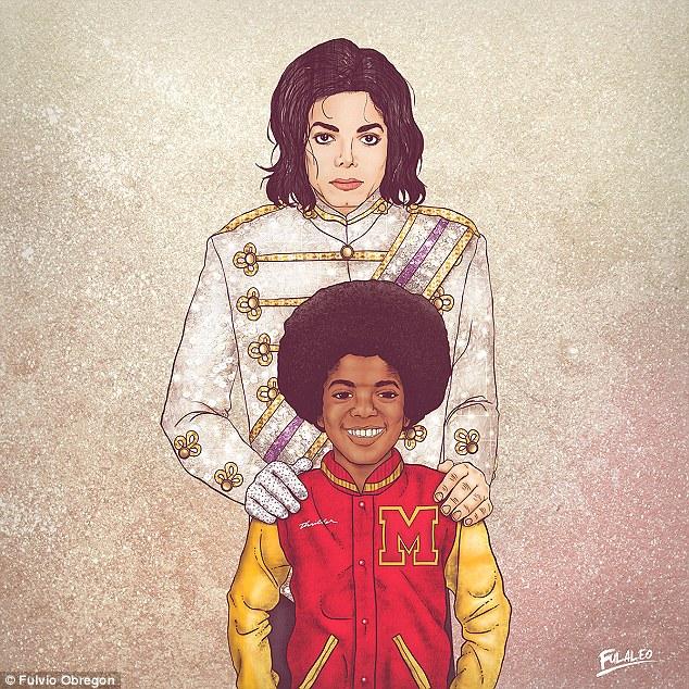 艺术家绘制杰克逊、乔布斯等名人和年轻版自己的插画-0-image-a-35_1442516475595