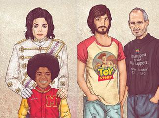 艺术家绘制杰克逊、乔布斯等名人和年轻版自己的插画