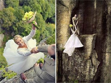 令人难忘的婚纱照 新人在悬崖绝壁上拍摄婚纱照